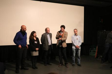 Introductions of festival guests and their opening remarks. From left to right: director Mohammed Alatar, director Sahera Dirbas, moderator Riccardo Bocco, actor Saleh Bakri and director Rifat Audeh.