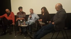 Guest panel at the Palestine Filmer C'est Exister Film Festival, in Geneva, Switzerland, Nov. 29 - Dec. 5, 2018