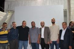 Several Freedom Flotilla survivors, from left to right: Mahmoud Sadaqa, Rifat Audeh, Anas Nairoukh, Mohammed Abuzakieh, Khalil Abushaqra, Mohammed Salamin and Basheer Zmeili