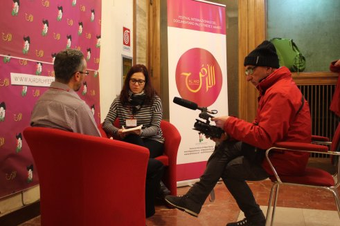 An interview with director Audeh by Invictapalestina at the festival. Interview link: https://www.youtube.com/watch?v=JGreZrLX4ME&t=7s