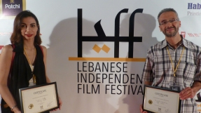 Director Rifat Audeh after receiving the Meditteranean Special Award, and fellow award-winning filmmaker Omneya Okasha from Egypt.